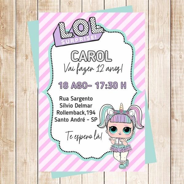 Convite lol surprise no elo7