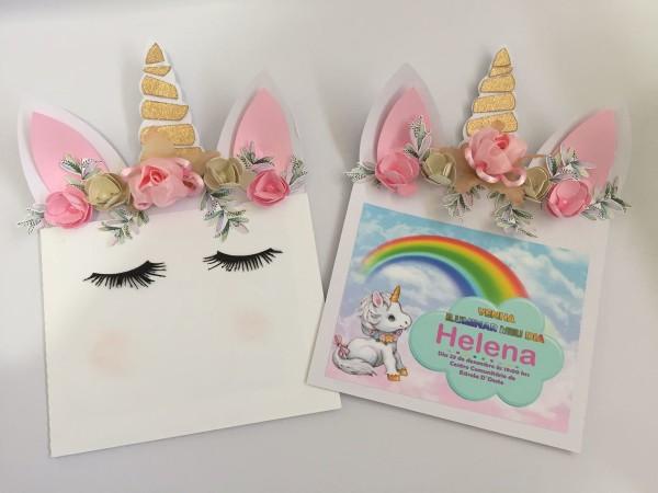 Convite luxo tema unicornio personalizado no elo7