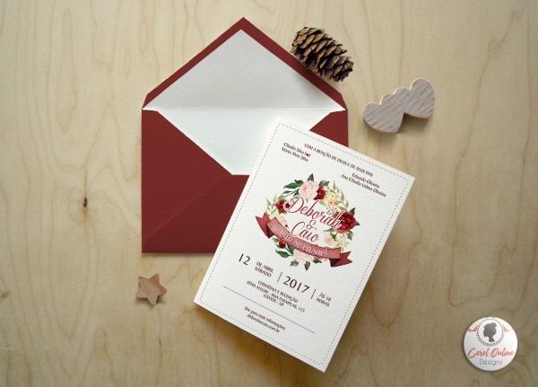 Convite De Casamento Arte Marsala