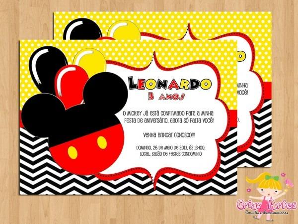 Convite mickey mouse mod 6 no elo7