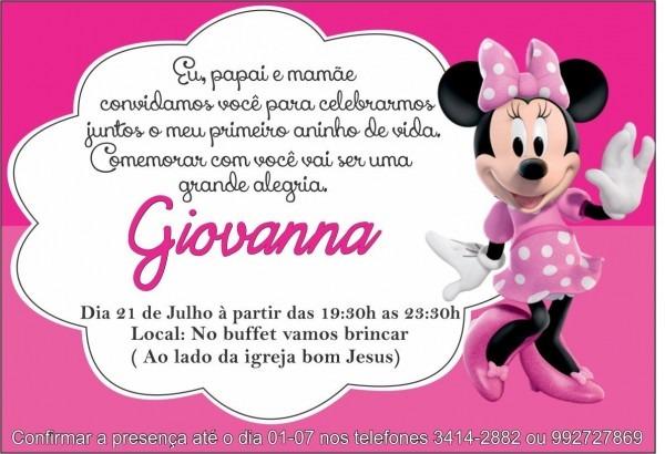 Convite minnie rosa infantil personalizado 20uni