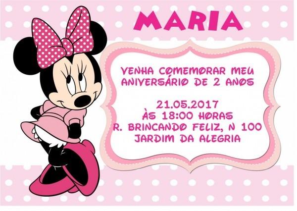 Convite minnie rosa no elo7