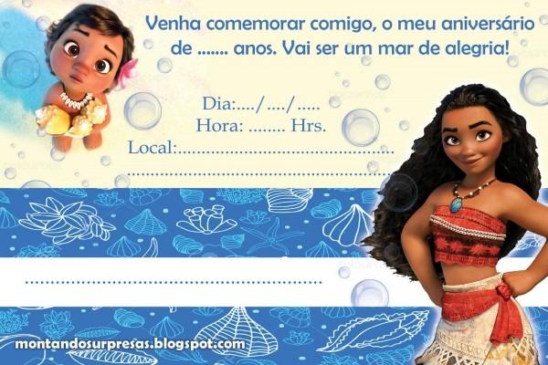 Convite Moana – 40 Ideias Lindíssimas & Modelos Para Imprimir Grátis!