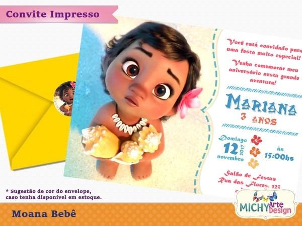 Convite moana baby no elo7