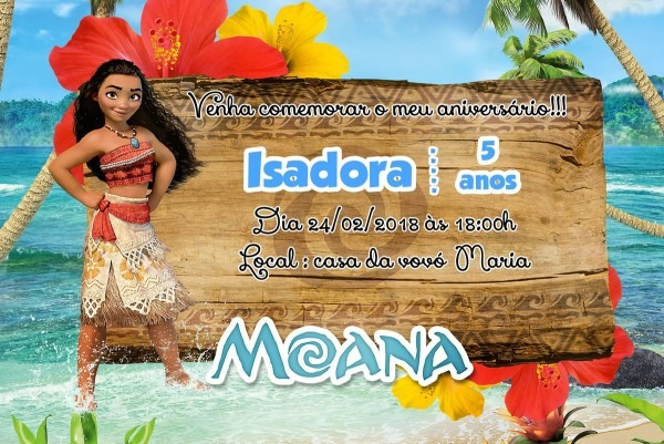 Convite moana no elo7