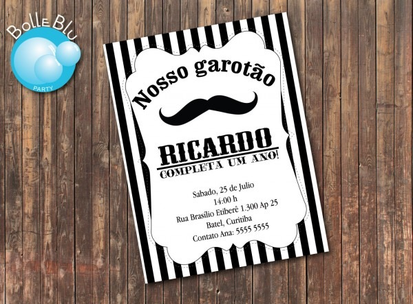Convite Mustache Bigode Baby No Elo7