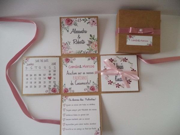 Convite padrinhos rústico floral no elo7