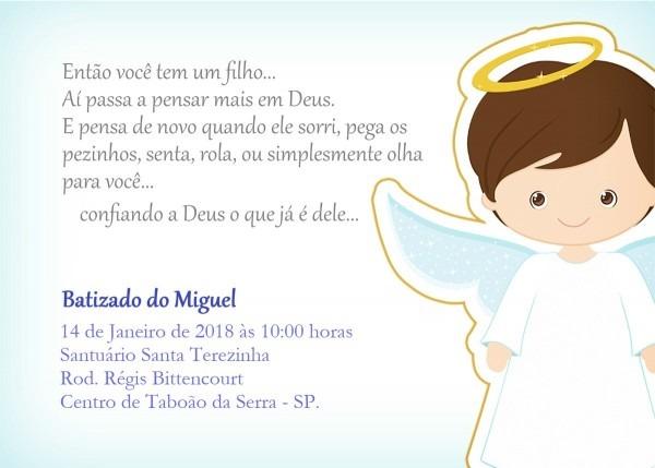 Convite batismo e convite para padrinhos no elo7