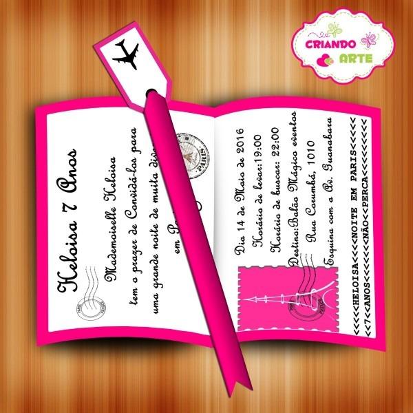 Convite passaporte paris rosa 20 und