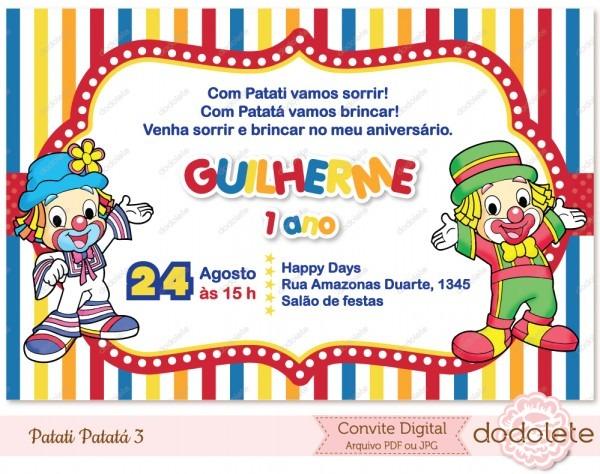 Convite Digital Patati Patatá 3 No Elo7