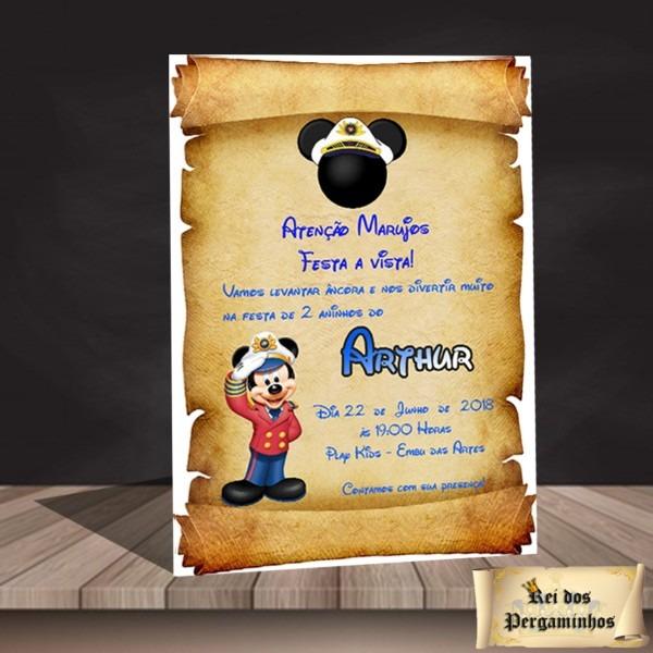 Convite pergaminho mickey marinheiro no elo7