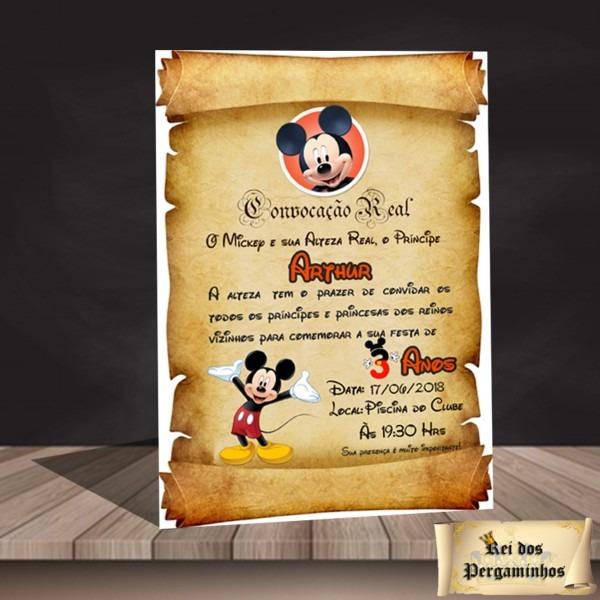 Convite pergaminho mickey