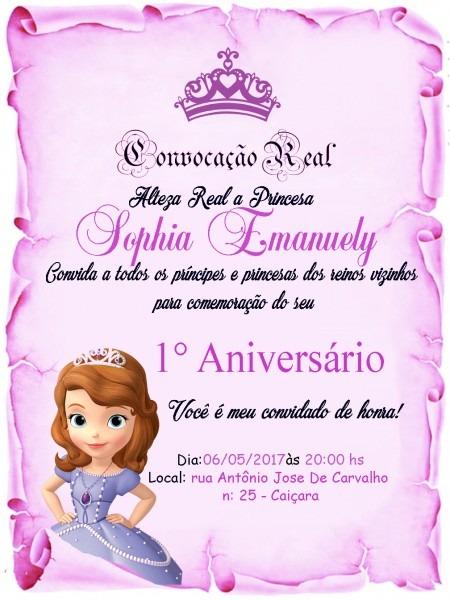 Convite pergaminho princesa sophia no elo7