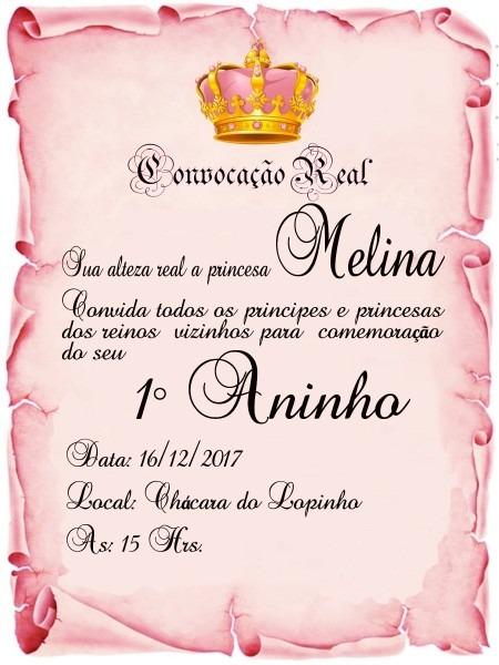 Convite pergaminho realeza rosa