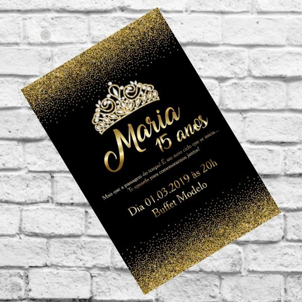 Convite Preto Com Dourado