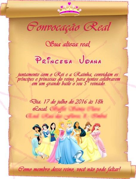 Convite princesas pergaminho no elo7