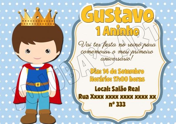 Convite príncipe com envelope no elo7