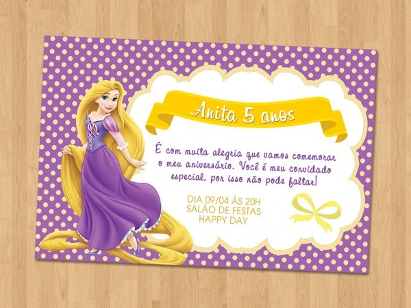 Convite virtual rapunzel