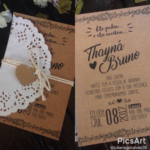 Convite rústico casamento noivado no elo7