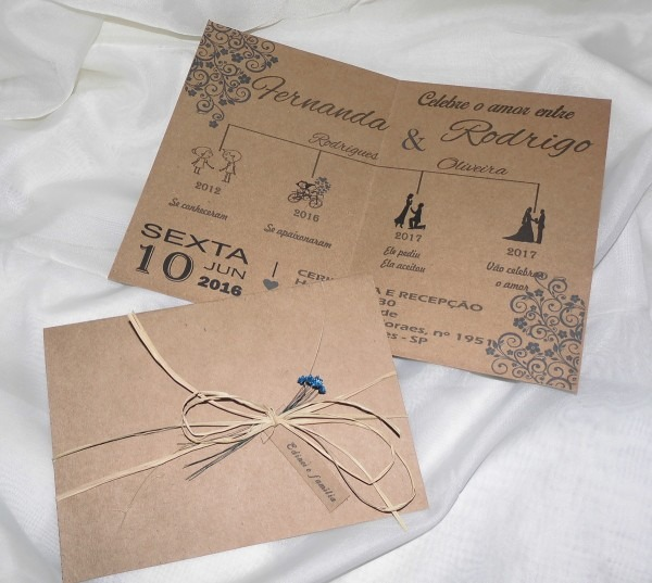 Convite de casamento rústico simples modelo 14 no elo7