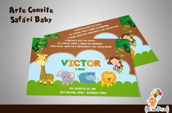 Convite Safari Baby (arte Digital) No Elo7
