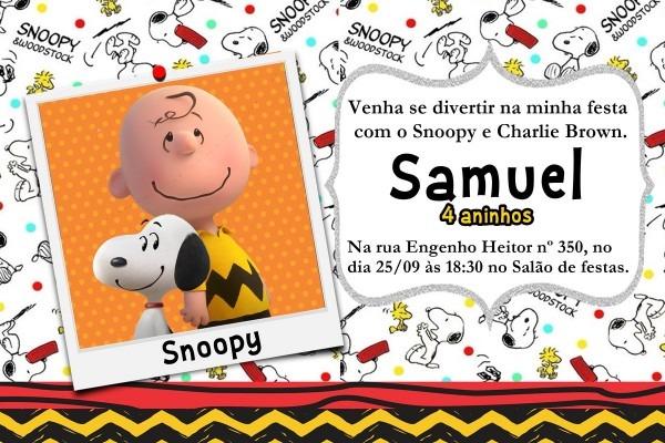 Convite snoopy no elo7