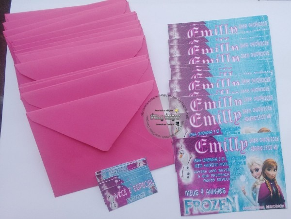 Convite tamanho10x7 frozen c etiqueta + envelope colorido