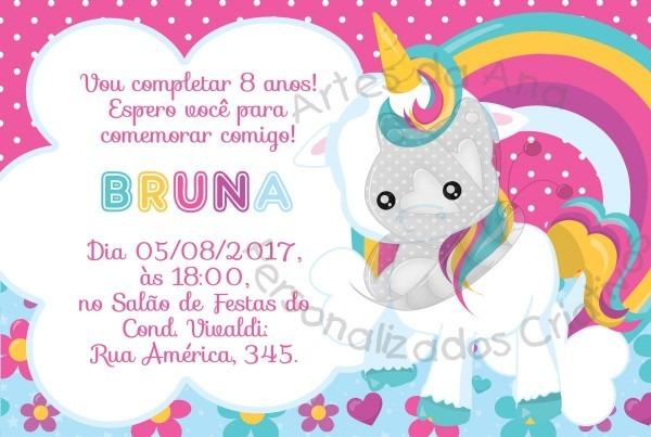 Convite Unicrnio  Convite Unicrnio  Unicorn Birthday Invitation