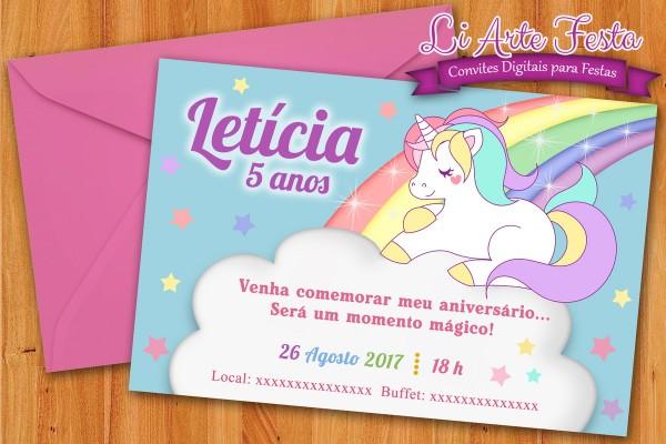 Convite Unicórnio (arte Digital) + Lacre Envelope Grátis No Elo7