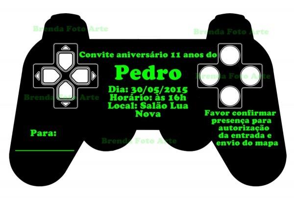 Convite digital video game no elo7