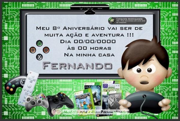 Convite video game no elo7