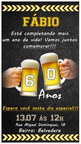 Convite virtual animado para aniversário cerveja, bar, beber