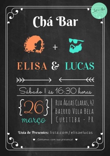 Convite virtual chá bar no elo7