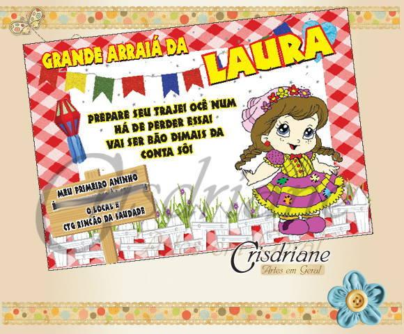 Convite de aniversario virtual festa junina menina