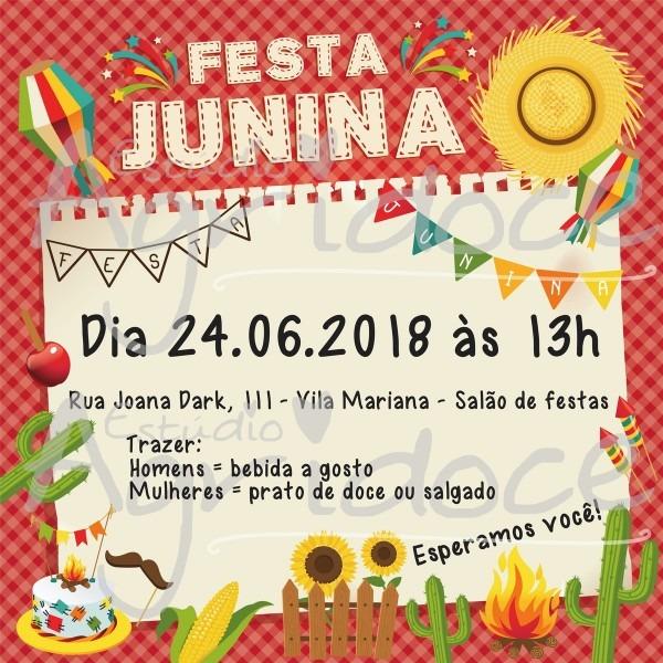 Convite virtual festa junina no elo7