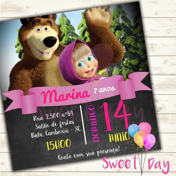 Convite virtual masha e o urso no elo7