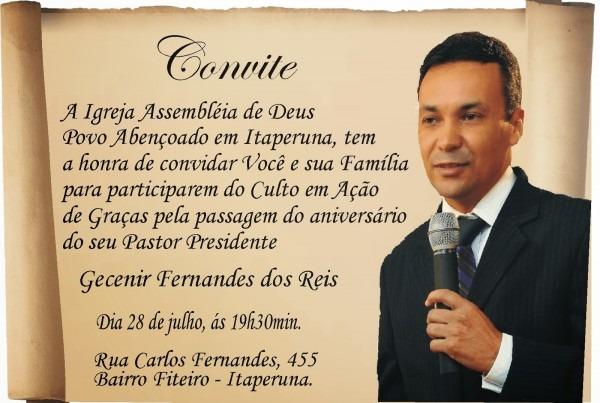 Igreja assembléia de deus povo abençoado  convite do aniversário