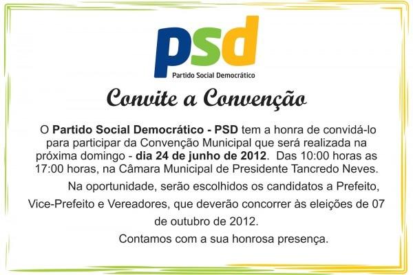 Convite  convenÇÃo dos partidos psd, pp, psdb, pv, pt, pc do b e