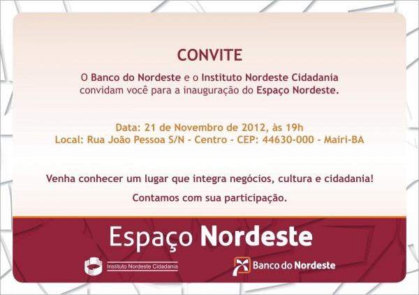 Programação e convite de inauguração do espaço nordeste de mairi