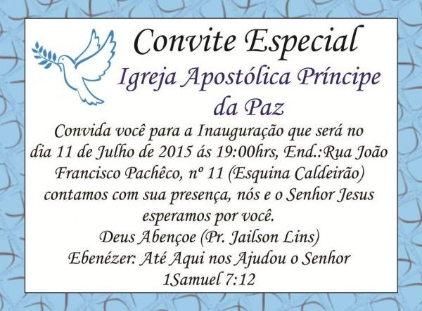 Convite  Inauguração Da Igreja Apostólica Príncipe Da Paz Na Rua