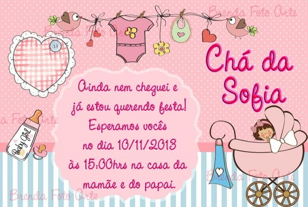 Convite Chá De Bebê Menina No Elo7