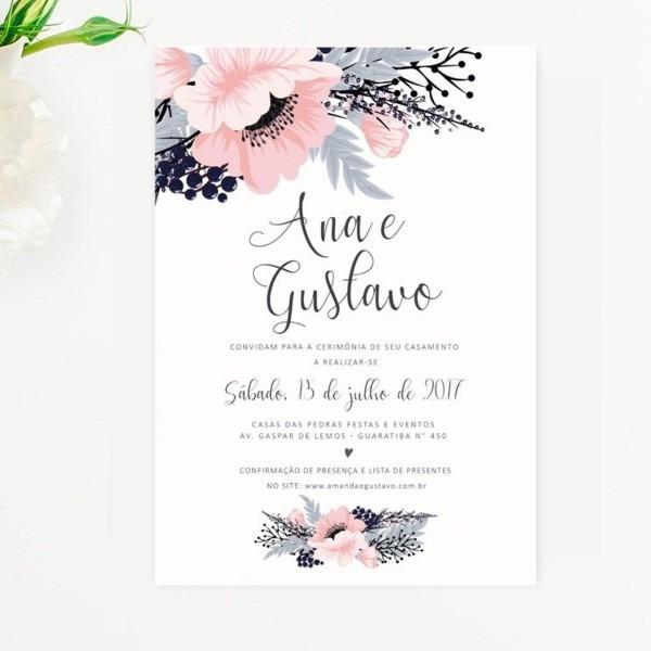 Convites De Casamento 10x15 No Elo7