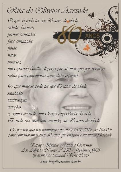 Rita 80 anos  convite do aniversário