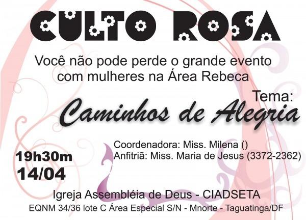Uemads df  convite do culto rosa da Área rebeca