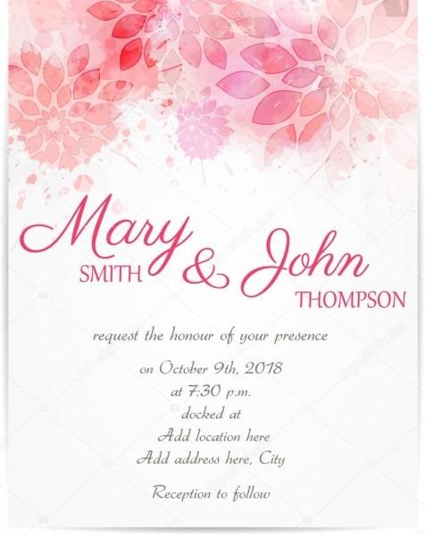 Modelo de convite de casamento com flores abstratas — vetores de