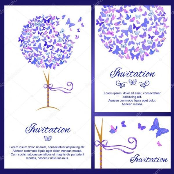Modelo de convite de casamento definida com borboletas na cor azul