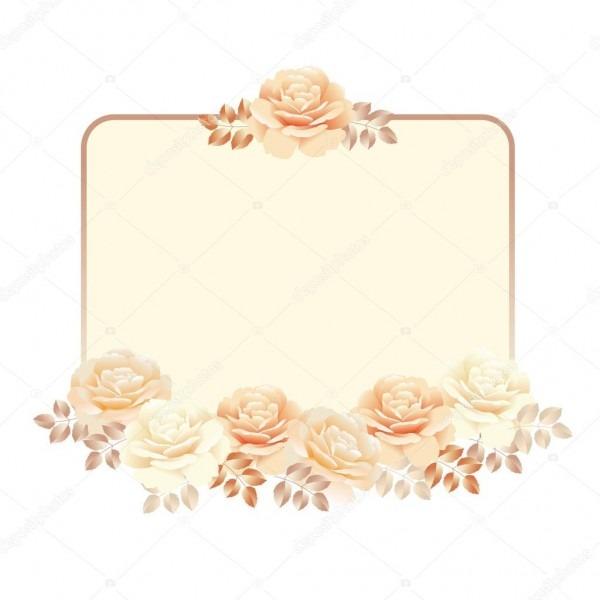 Quadro floral para modelo de convite  rosa ve cor pérola amarela