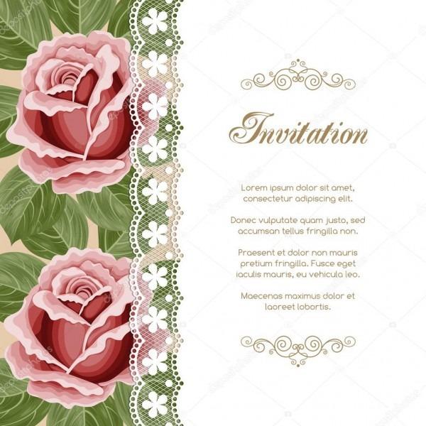 Modelo de convite floral vintage — vetor de stock © nonikastar