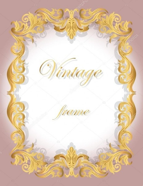 Cartão do convite com borda dourada moldura ornamental — vetor de