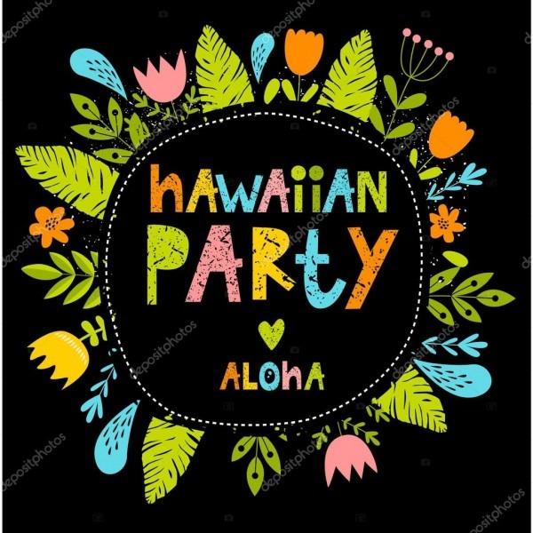 Vector a ilustração de fonte luminosa com flores  festa havaiana